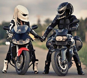 Black and White Predator Motorcycle Helmets